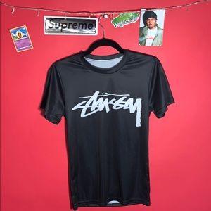 Stussy rare vintage polyester jersey black shirt